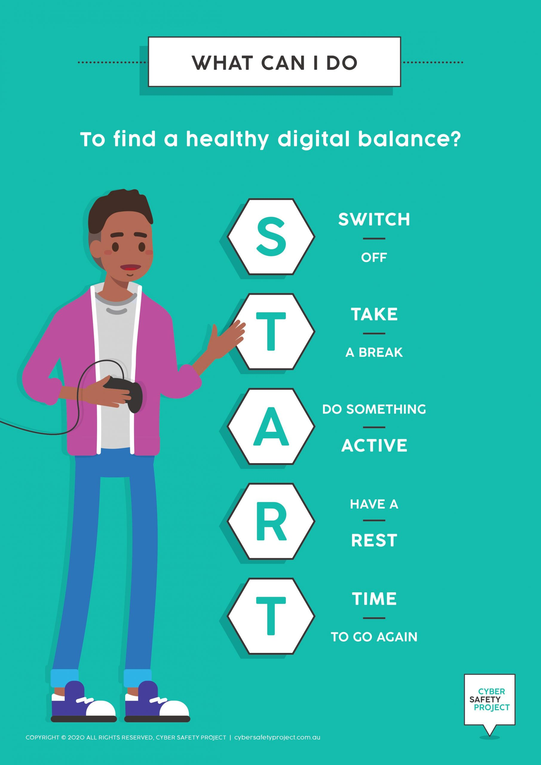 Cyber Safety Screen Time Habits Poster